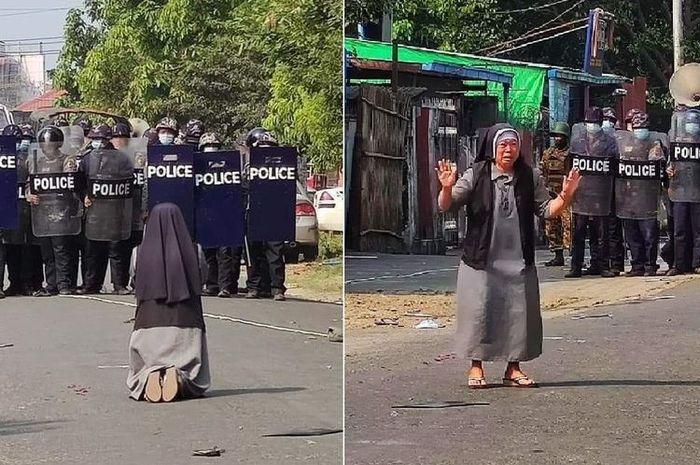 Hari Paling Berdarah di Myanmar, Suster Ini Menangis Sambil Berlutut di Hadapan Barikade Polisi, Aksinya Berhasil Selamatkan Ratusan Pendemo - Semua Halaman - Sosok