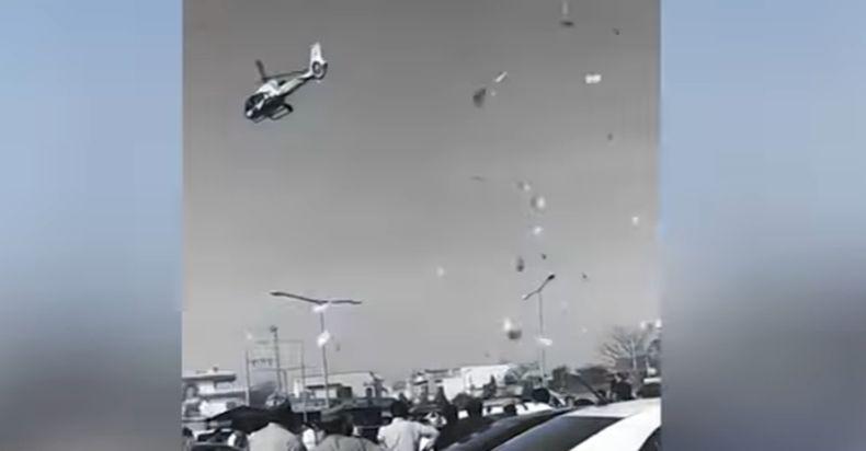 Viral, Pesta Pernikahan Diwarnai Hujan Uang dari Helikopter