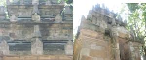 bagian atap candi, batu baru digabung dengan batu lama dibuat candi