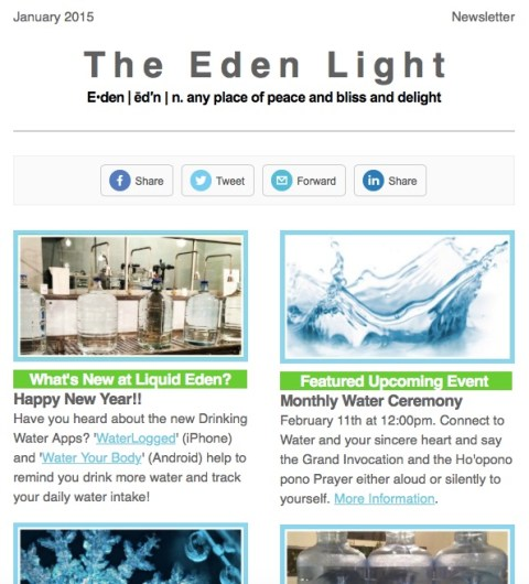 Liquid Eden Water Store January 2015 Newsletter