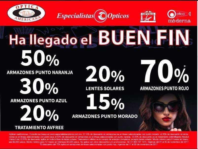 fbec1f14ae Óptica Americana - El Buen Fin 2017 / Hasta 70% de descuento y más ...
