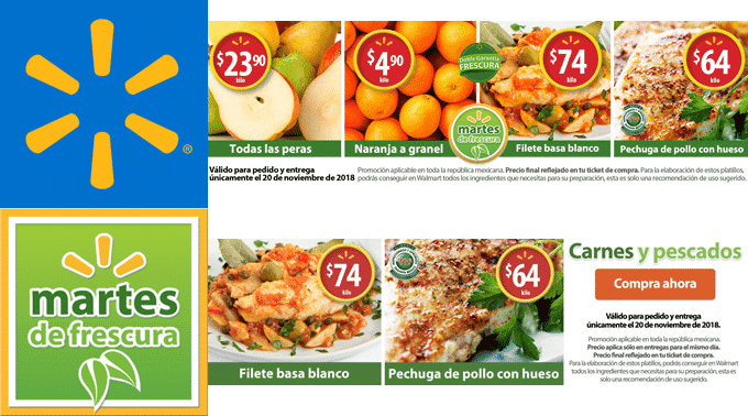 Walmart - Martes de Frescura 20 de noviembre de 2018 / Naranja a $4.90kg, Todas las Peras a $23.90kg y más...