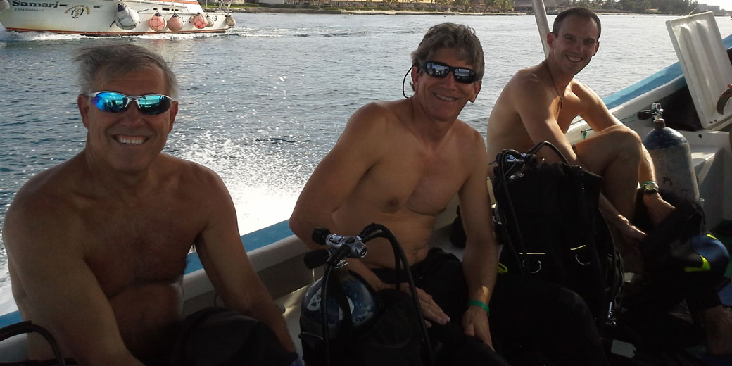 Some of our scuba divers getting ready to gear up for a dive