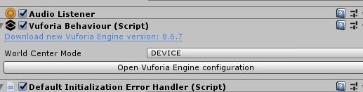 Open Vuforia Engine configuration