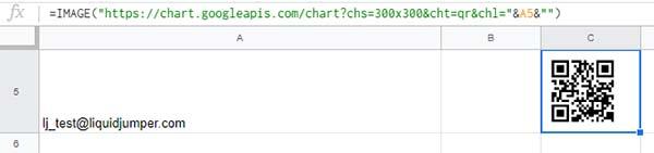 E-mailアドレスからQRコードが生成されました