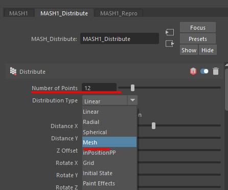 Distribution Type のプルダウンから「Mesh」を選択
