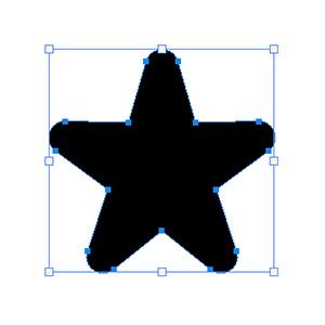 8角形のシェイプが、角が丸い星型に変形