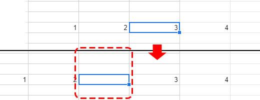 選択した行の左にセルが一列挿入されました