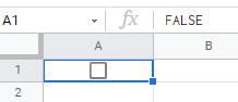 セルを選択すると数式バーに「FALSE」と表示される