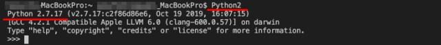 Python 2.7.17 の対話モードに切り替わりました