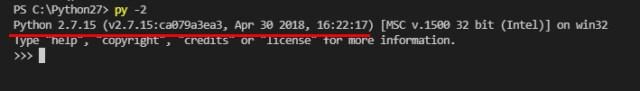Python 2.7.15 の対話モードに切り替わり