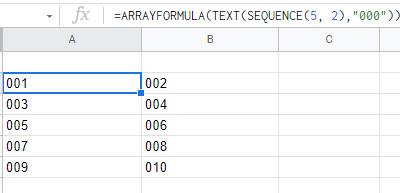 5行2列の範囲に連続する数値が並びます