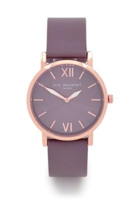 Elie Beaumont Purple Square Strap Rose Gold Watch