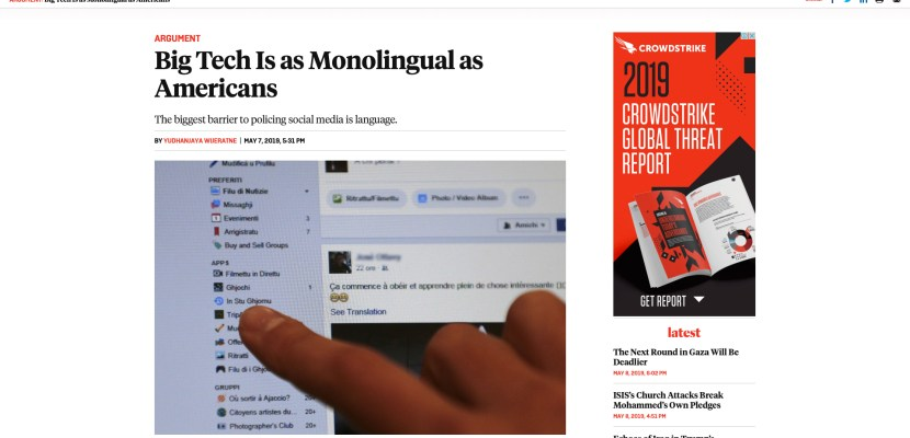 Big Tech Is as Monolingual as Americans – Foreign Policy (Media)