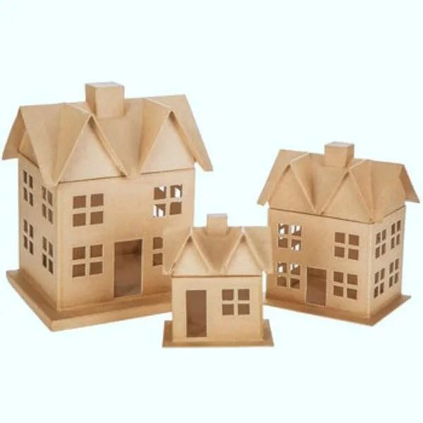 3 paper mâché houses