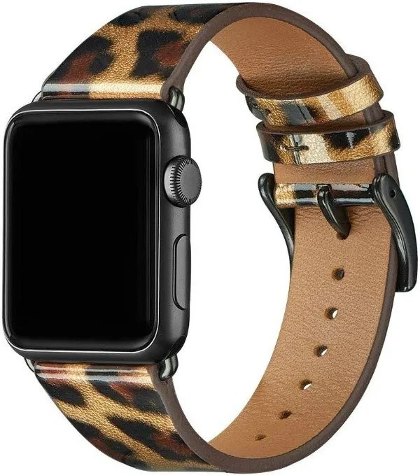 apple watch with a leopard band