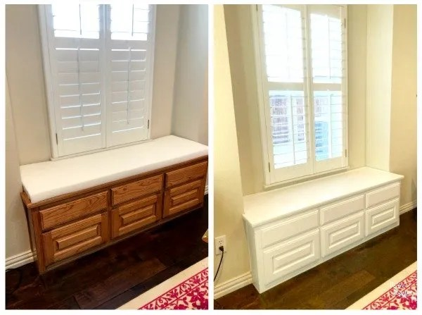 before and after of the window seat