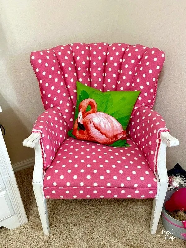 Pink and white polk a dot chair