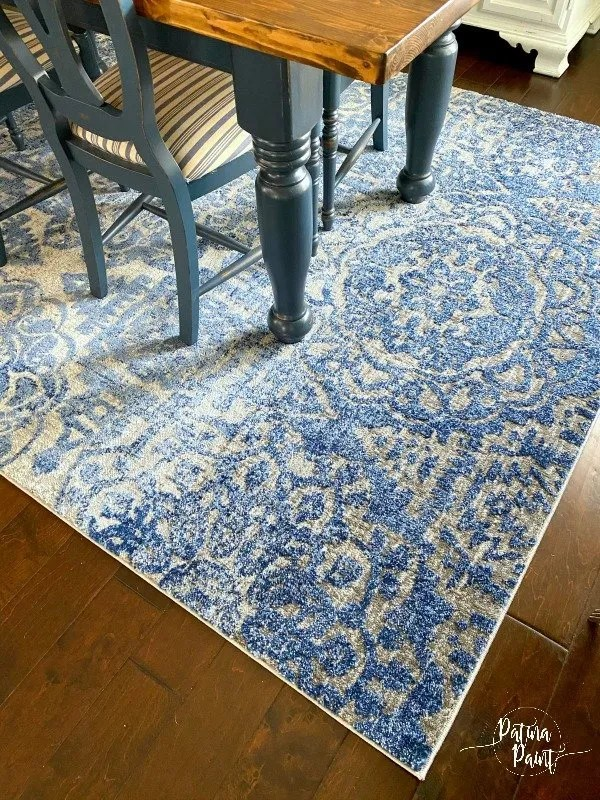 blue and gray dining room rug