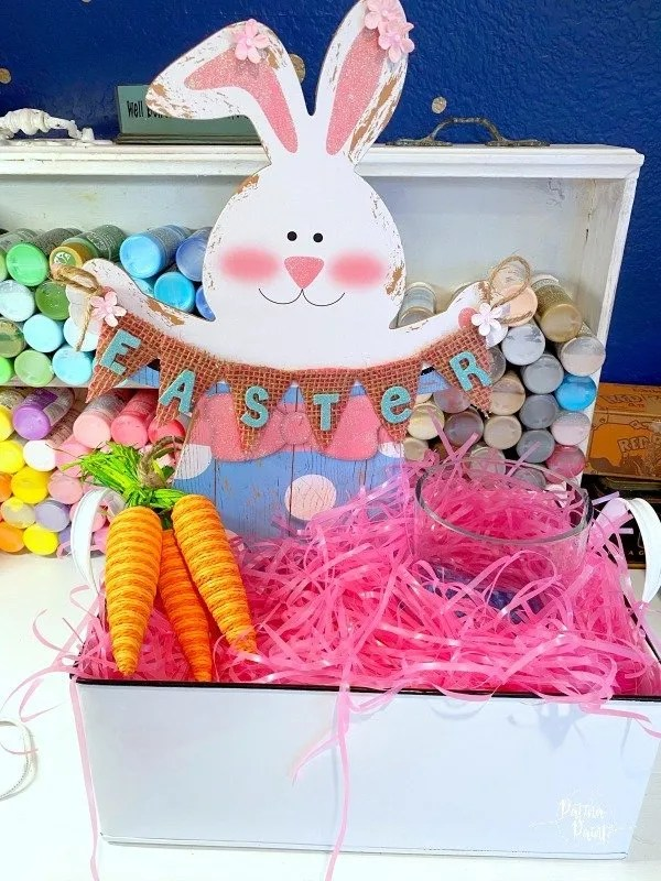 Easter bunny , carrots, blue easter grass