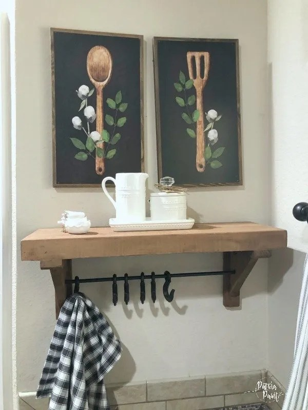 Shelving, fork and spoon pictures
