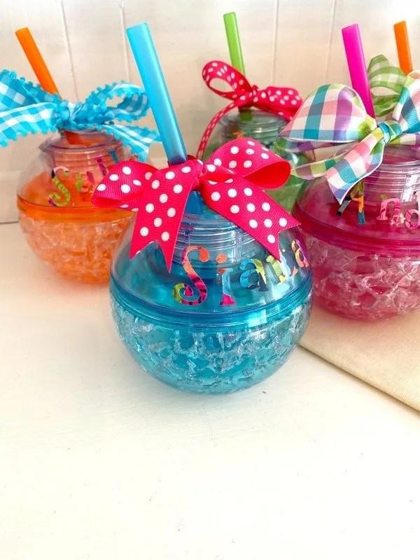 freezer gel ball tumblers with vinyl names