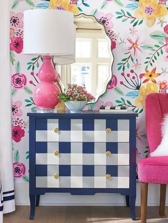 navy and white buffalo plaid dresser