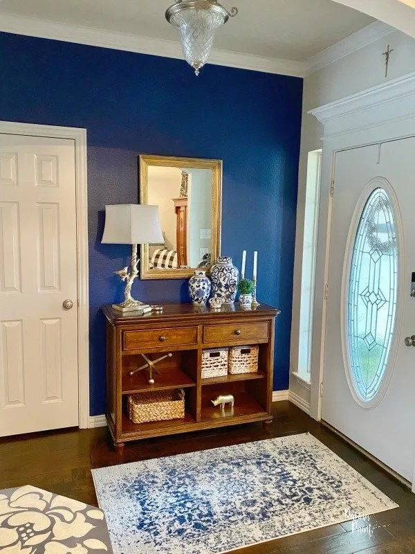 blue and white entry