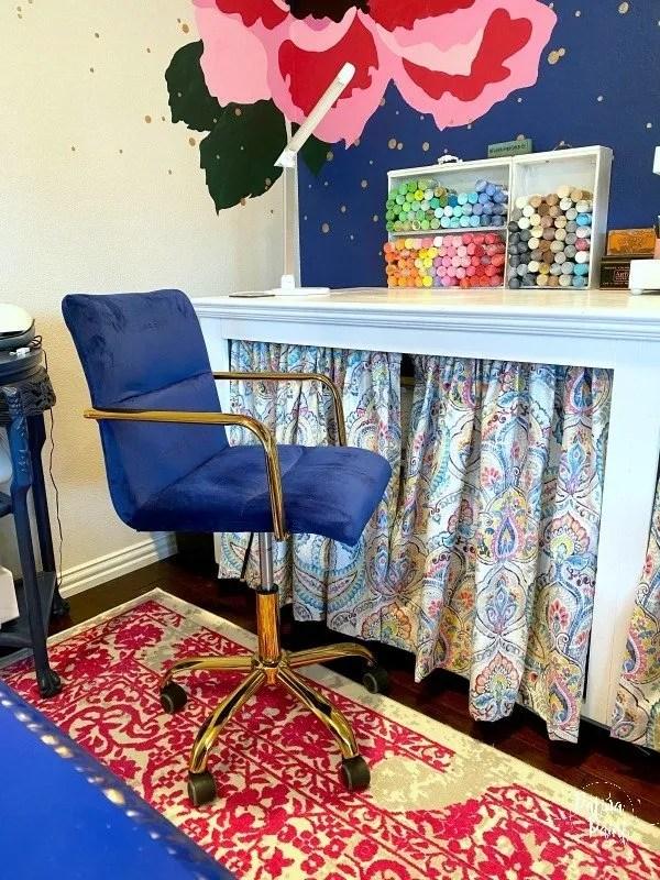 navy velvet office chair