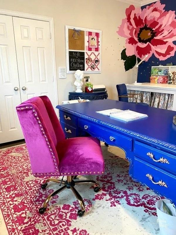 raspberry velvet office chair