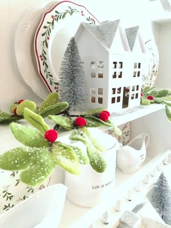 White Christmas House and felt greenery