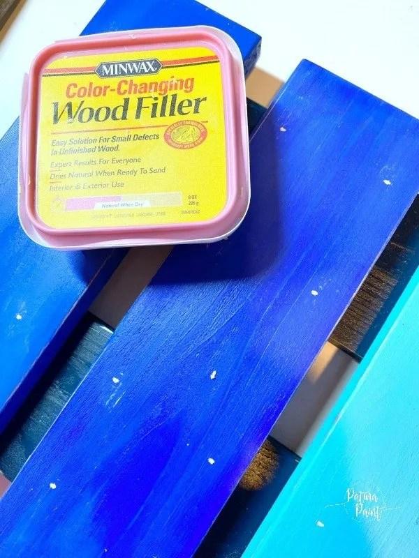 blue boards, wood filler