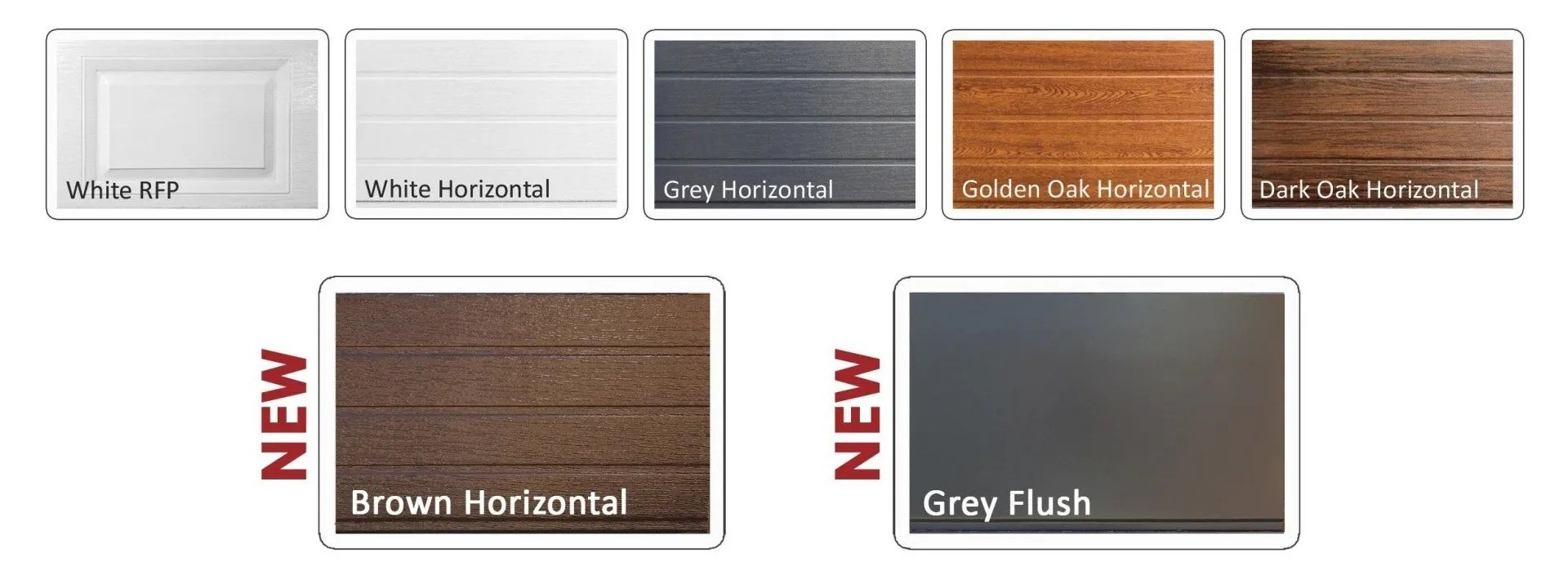 Collage of insulated steel sectional door styles