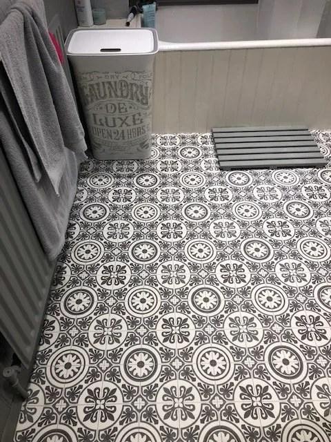 black white tile effect bathroom flooring