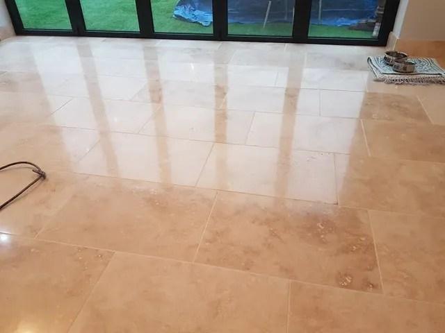 travertine stone tile floor polished