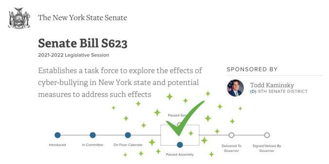 Cyberbullying Task Force Bill S623 A2206 Passed in New York State