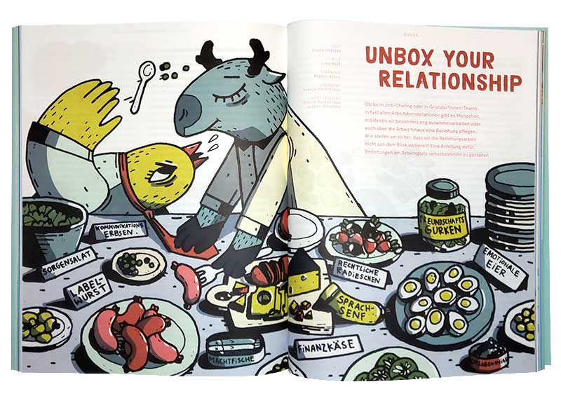 """a double page editorial illustration as an opener for the magazine neue narrative. the spread shows an elk and a bird, eating at a buffet (smorgasboard). the foods are labled with puns, marking them as abstract concepts like """"communication"""", """"emotion"""", """"finances"""" and so on. the elk is stepping on the bird's tie, while blindly reaching for a sausage named """"lables""""."""