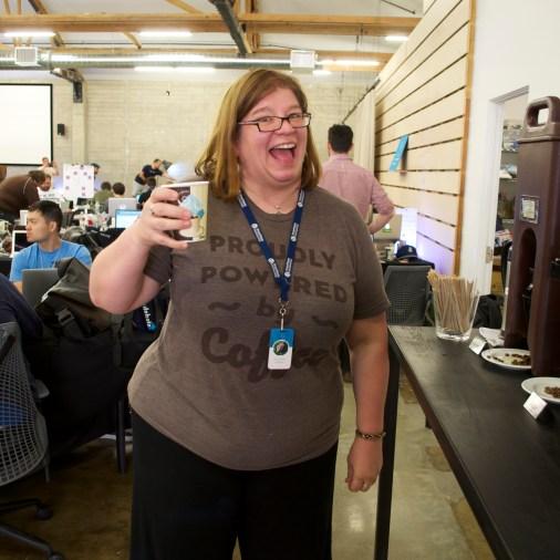 Happy coworker