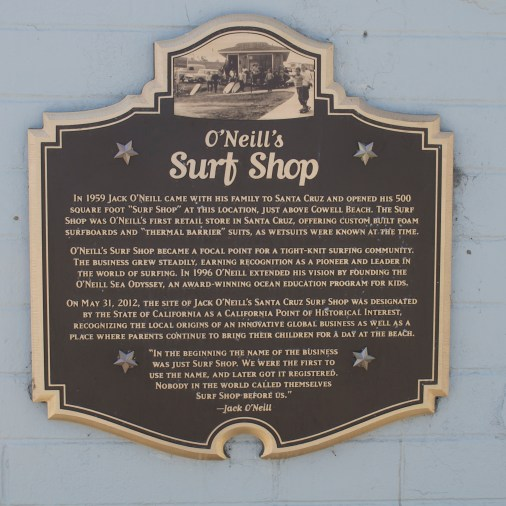 Plaque for O'Neill's Surf Shop