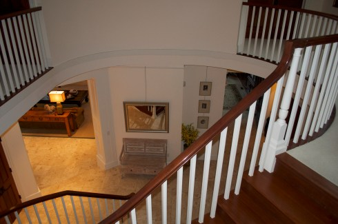 Upstairs looking down on the foyer