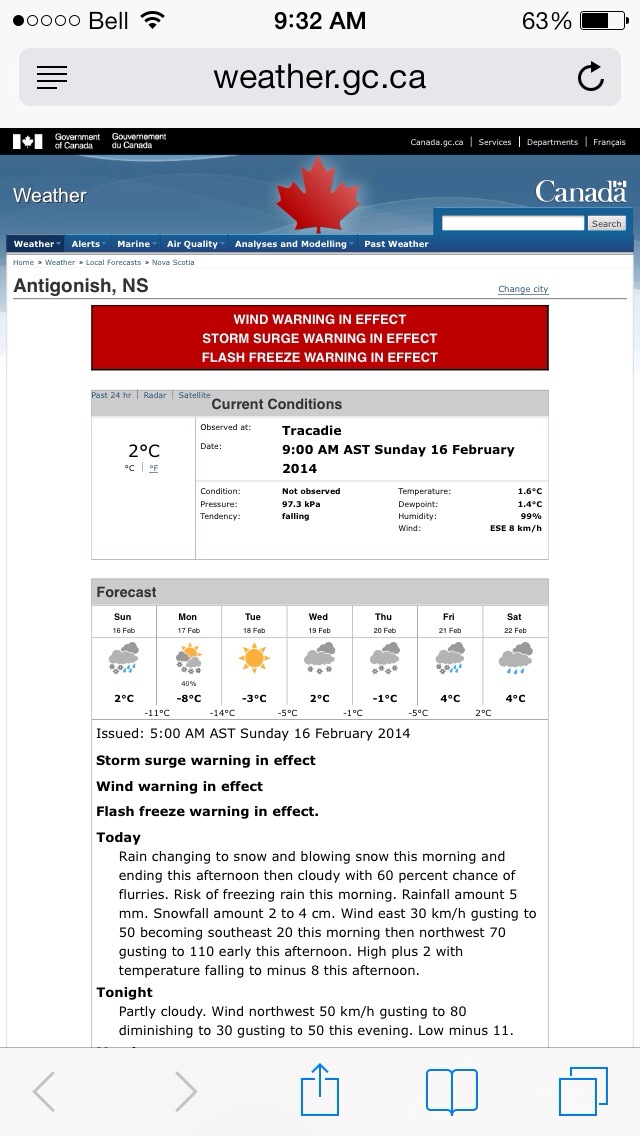 Image of today's warnings from Environment Canada
