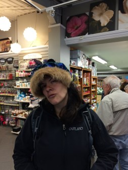 Jen with a Nova Scotia tartan hat with a fur trim.