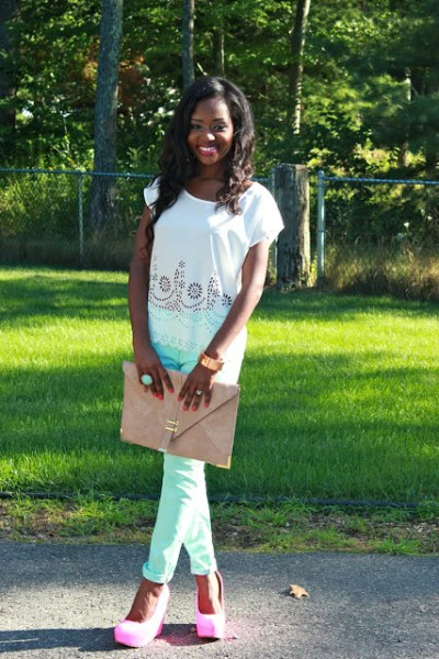 How to Wear Mint Colored Skinnies Outfit #2