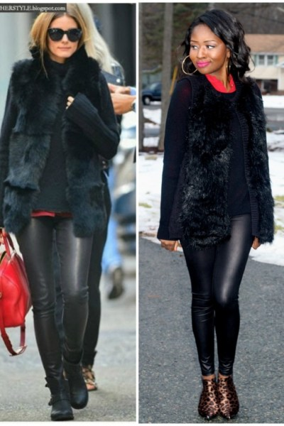 Oliva Palermo Inspired Fur Vest Outfit of the Day
