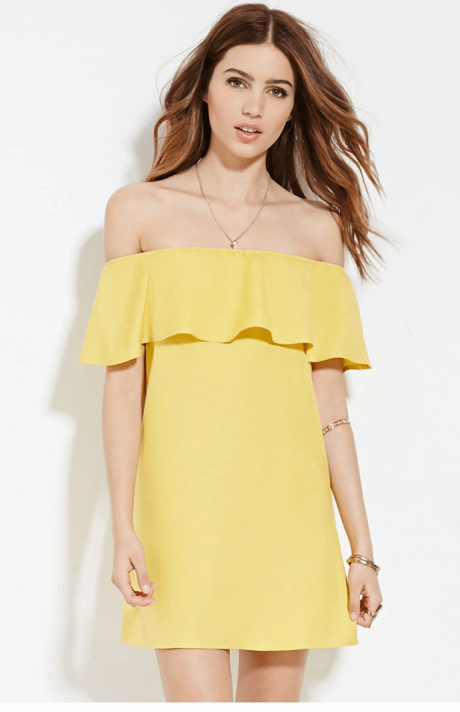 off-the-shoulder-yellow-dress