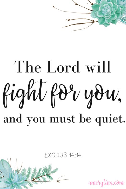The Lord will fight for you, and you must be quiet. Exodus 14:14 | lisaalfaro.com