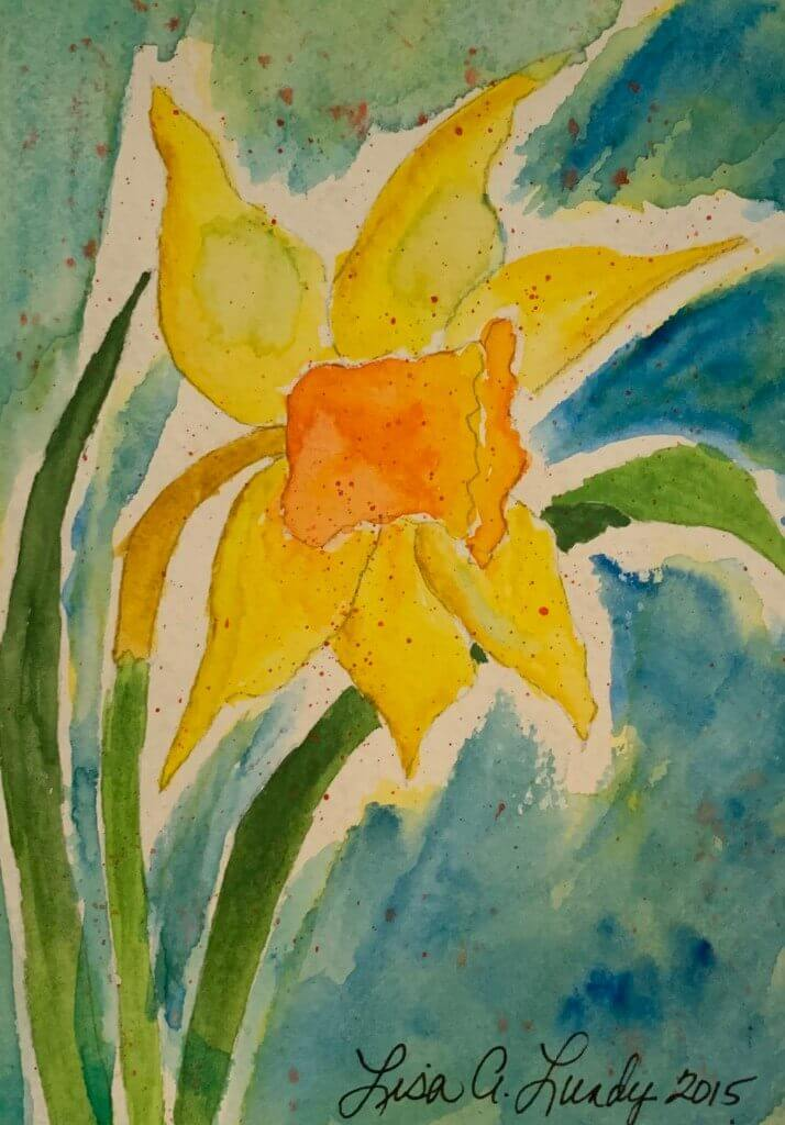 Self-growth daffodil watercolor painting