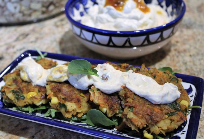 Vegetable Fritters with Mango Chutney