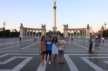 Myself, David, Damaris, and Calin in Heroes' Square, Budapest.