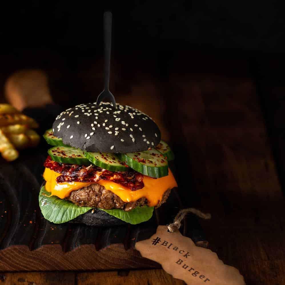 Foodfoto für gastronomie black burger